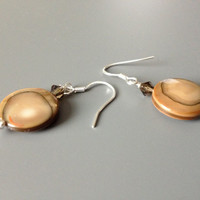 Caramel Brown Shell and Crystal Earrings