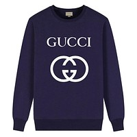 GUCCI Autumn And Winter New Fashion Letter Tiger Print Women Men Long Sleeve Top Sweater Gray
