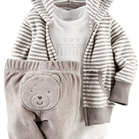 Carter's Baby Boys' 3 Piece Terry Cardigan Set (Baby) - Gray - 3M