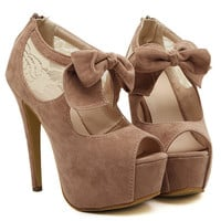 Bow Peep Toe Platform High Heel Pumps