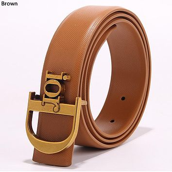 Dior simple retro men's and women's wild letter buckle belt Brown