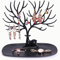 Display Organizer Holder Show Rack Jewelry Necklace Ring Earring Wooden Tree Stand