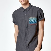 On The Byas Rocky Tribal Pocket Short Sleeve Button Up Shirt - Mens Shirt - Black