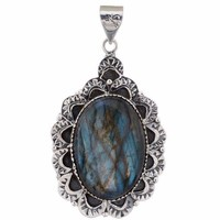 Arvino 925 Sterling Silver Pendant With Labradorite Gemstone