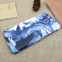 Blue Stone Marble iPhone 5 5S SE 6 6S 6 6S Plus Case Cover + Free Gift Box