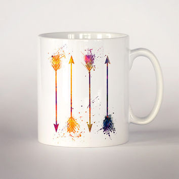 Colorful arrows coffee mug, Arrows watercolor Tea Cup, coffee cup 11 oz. Mug art, Ceramic Mug art , Arrows mug, Unique gift