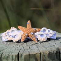 SWAROVSKI DIAMONDS Large Real Starfish Barrette- Beach Wedding