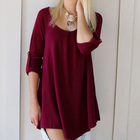 The Ponderosa Wine Scoop Neck Pleated Tunic Top