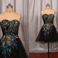 2014 black tulle homecoming dress with rhinestone,short embroidered peacock feather women gowns,latest cheap prom party dresses hot.