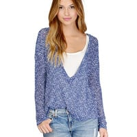 Long Sleeves Deep V-Neck Knitted Top