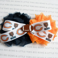 Chicago Bears headband with bow and football embellishment, newborn-adult, can also be put on a clip
