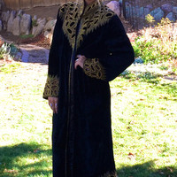 Long Beaded Coat, Velvet Evening Jacket, Art Deco Style Coat, L/XL, Beautiful Black Coat w Ornate Beading, Unique Vintage Coat, Formal Coat