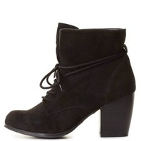 Slouchy Lace-Up Ankle Boots by Charlotte Russe - Black