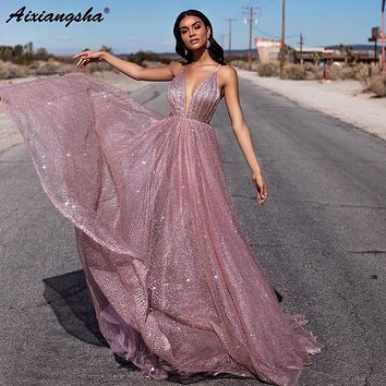 Shining Blush Pink Prom Dresses A-Line Sequin Party Maxys Long Prom Gowns Backless Sexy Evening Dresses