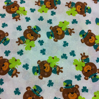 Bears and Clovers with Glitter Cotton Fabric - Sewing supplies