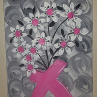 """Hand painted wood framed canvas - 12""""x24"""" - Breast Cancer Survivor"""