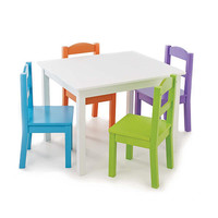 Tot Tutors White Table with 4 Vivid Colors Chair Set