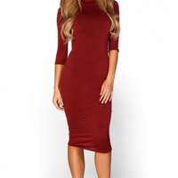 Marley Rust Red 34 Sleeve High Neck Bodycon Midi Dress