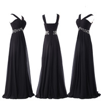 2015 Stock Chiffon Bridesmaid Evening Formal Party Ball Gown Prom Dress PLUS SZ