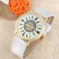 Womens Vintage Feather Dial Leather Band Quartz Analog Unique Wrist Watches + Gift Box