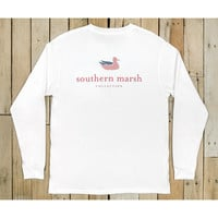 Southern Marsh Authentic Flag Long Sleeve Tee- White