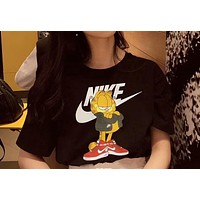 Nike Garfield Trending New Personality Cartoon Print Casual Pure Cotton Short Sleeve Round Collar T-Shirt Top I-MYJSY-BB