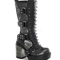 Demonia Multi Strap Calf Boots
