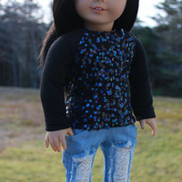 18 inch doll clothes, black shirt with blue and purple sequins, blue ripped skinny jeans,maplelea