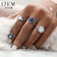 17KM Fashion New 4pcs/Set Silver Color Stone Midi Ring Sets for Women Boho Beach Vintage Turkish Punk Knuckle Ring Jewelry