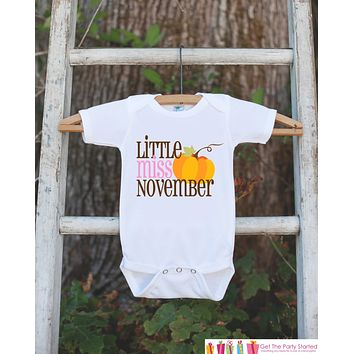 Little Miss November Onepiece Bodysuit - Take Home Outfit For Newborn Baby Girls - Fall Pumpkin Infant Going Home Hospital Onepiece