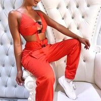 buckle up 2-piece cropped set