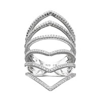 Cubic Zirconia Sterling Silver Chevron Ring (White)