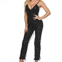 2020 New Women's Deep V-Neck Tassel Sling Sequin Sexy Jumpsuit