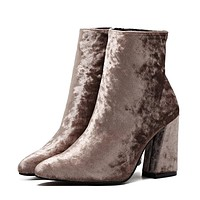 Autumn Winter Ankle Boots Shoes High Top Corduroy Velvet Ankle Boots Booties Pump Block Heels