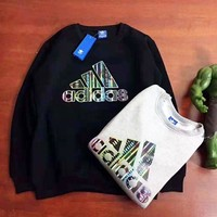 Adidas Fashion New Bust Letter Print High Quality Women Men Long Sleeve Sweater Top Black