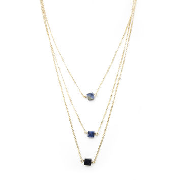 Blue Crush Square Layered Necklace