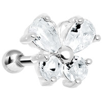925 Silver Clear Gem Wing Butterfly Cartilage Tragus Earring | Body Candy Body Jewelry