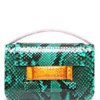 One Of A Kind Python Madison Clutch in Emerald Green