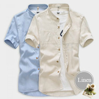 Collarless Design Men Casual Shirt