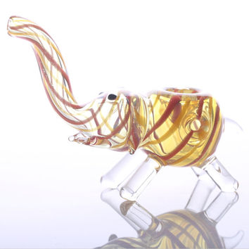 novelty glass smoking pipes small elephant glass bongs 4 Inch Red and Yellow Stripes Elephant Glass Pipes