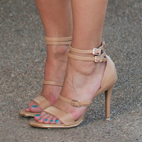 Barely There Nude Strappy Heels