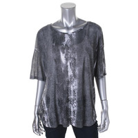 Pure DKNY Womens Petites Sheer Printed Pullover Top