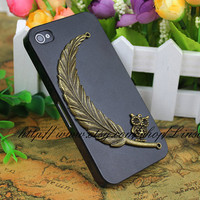 Black Hard Case Cover With Harry Potter Feather For iPhone 4 4s