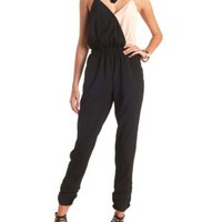 Surplice Color Block Jumpsuit by Charlotte Russe - Black Combo