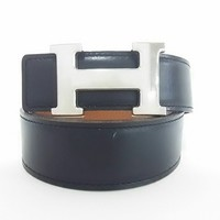 Auth HERMES Black Silver Hardware Leather H Belt Square E #68