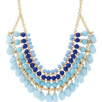 Multi-Beaded Bib Necklace by Charlotte Russe - Blue
