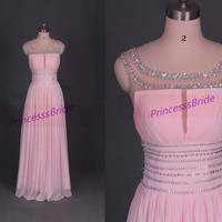 2014 long pink chiffon prom gowns with crystals,simple women dress for holiday party,cheap bridesmaid dresses hot.