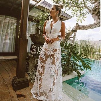 Vindica Sheer White Lace Bodysuit Gown