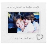 Lawrence Frames 6 by 4-Inch Ivory Wood True Love Picture Frame, Silver Heart Ornament with Crystals