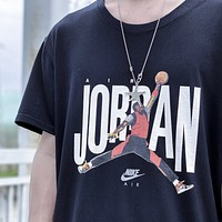 NIKE Jordan Summer New Fashion Letter People Women Men Top T-Shirt Black